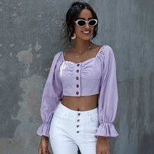 Button Front Flounce Sleeve Crop Blouse