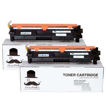 Compatible HP 30X CF230X cartouche de toner noire avec puce haute capacite - Moustache - 2/paquet