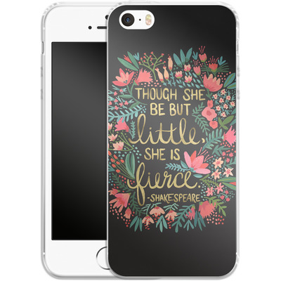 Apple iPhone SE Silikon Handyhuelle - Little But Fierce Charcoal von Cat Coquillette