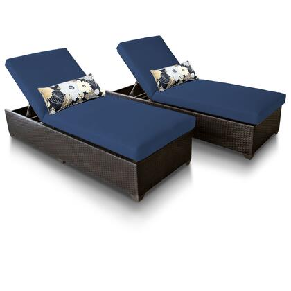 CLASSIC-2x-NAVY Classic Chaise Set of 2 Outdoor Wicker Patio Furniture with 2 Covers: Wheat and