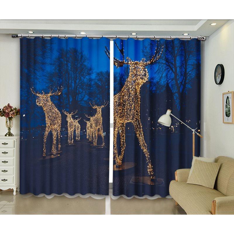 Christmas Celebration Party Decorative Blackout Curtains with 3D Fantastic Elks Print