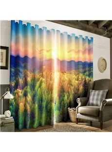 3D Golden Sunrise and Thick Forest Printed 2 Panels Decorative Custom Curtain