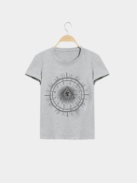 Yoins Casual Pyramids Totem Pattern Short Sleeves T-shirt