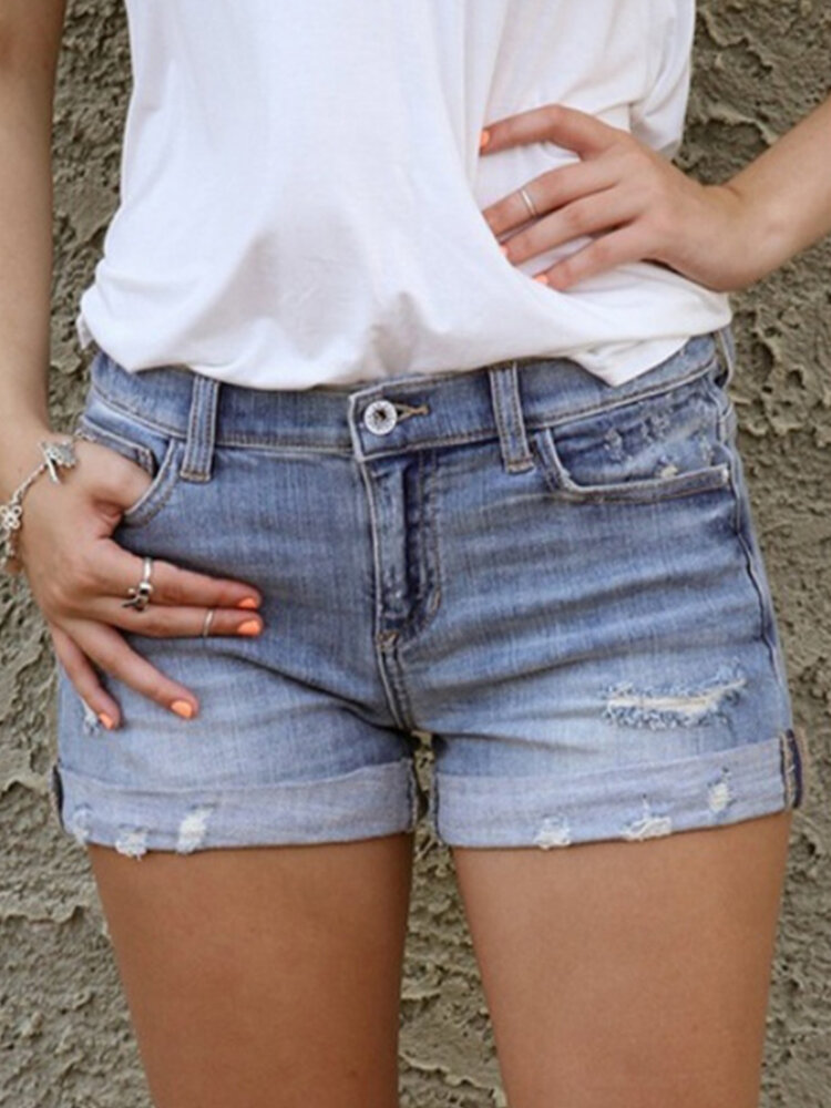 Solid Color Ripped Casual Denim Shorts For Women