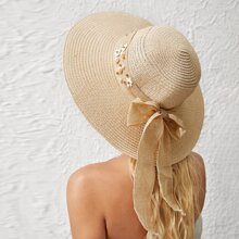 Faux Pearl & Floral Decor Straw Hat