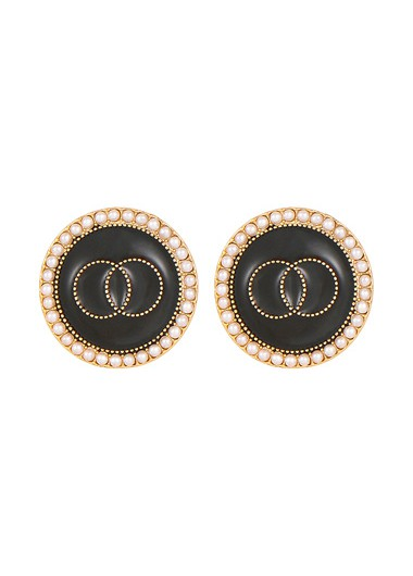 Mother's Day Gifts Metal Black Round Shape Earring Set - One Size