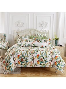 Birds and Flowers Soft Thicken Duvet Cover 4-Piece Washable Pastoral Bedding Sets Colorfast Wear-resistant Endurable Skin-friendly All-Season Ultra-so
