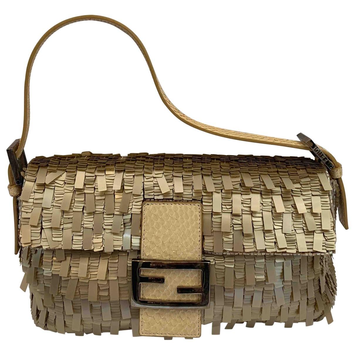 Fendi Baguette Beige Python handbag for Women \N