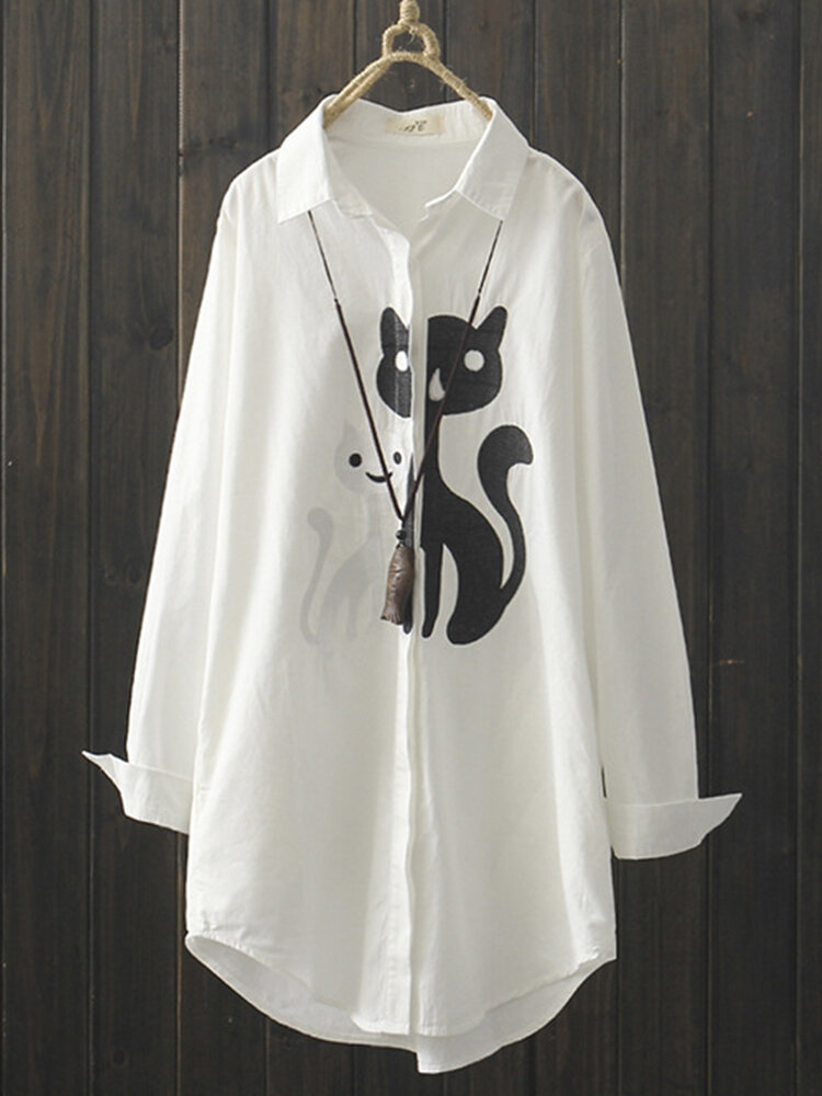Cartoon Embroidery Mid-length Casual White Shirt