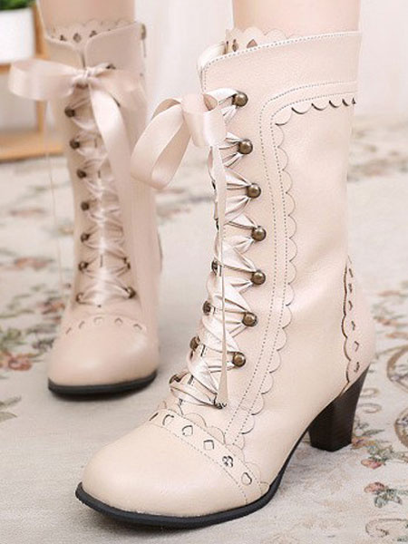 Milanoo Classic Lolita Boots Round Toe Prism Heel Lace Up Champagne Lolita Winter Boots