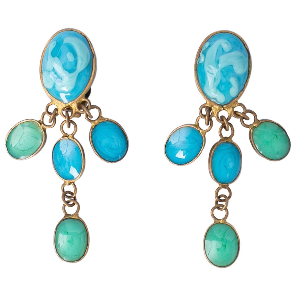 Chanel Baroque OhrRing in  Blau Glas