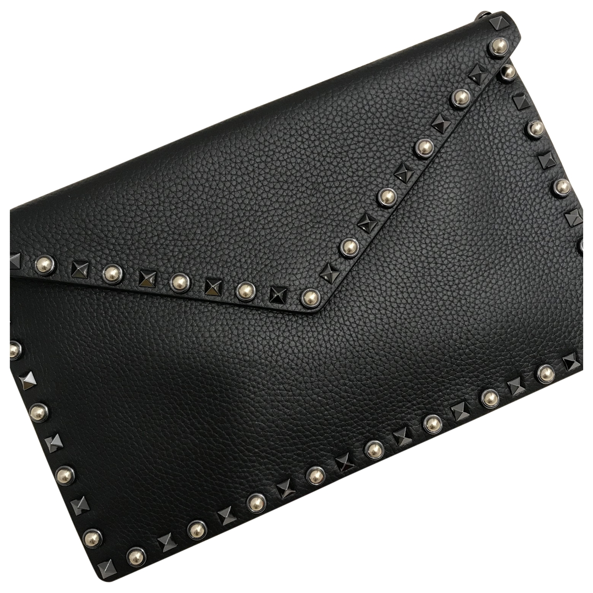 Valentino Garavani Rockstud Black Leather Clutch bag for Women \N