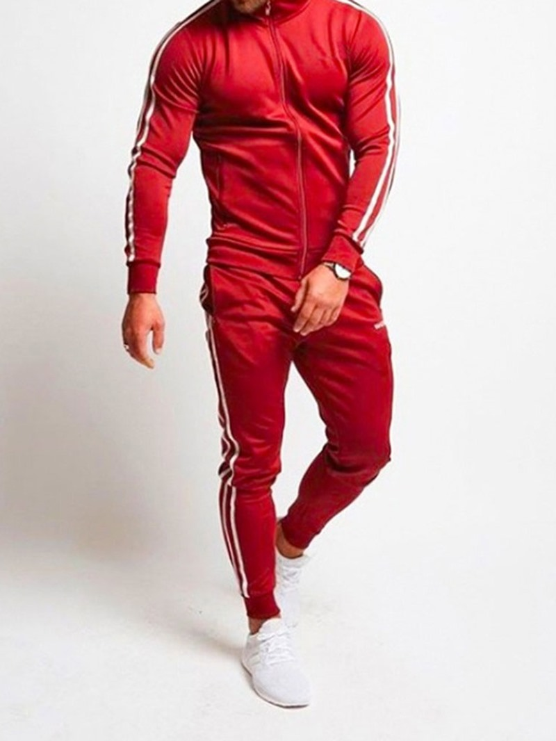 Ericdress Lace-Up Color Block Men's Sports Outfit