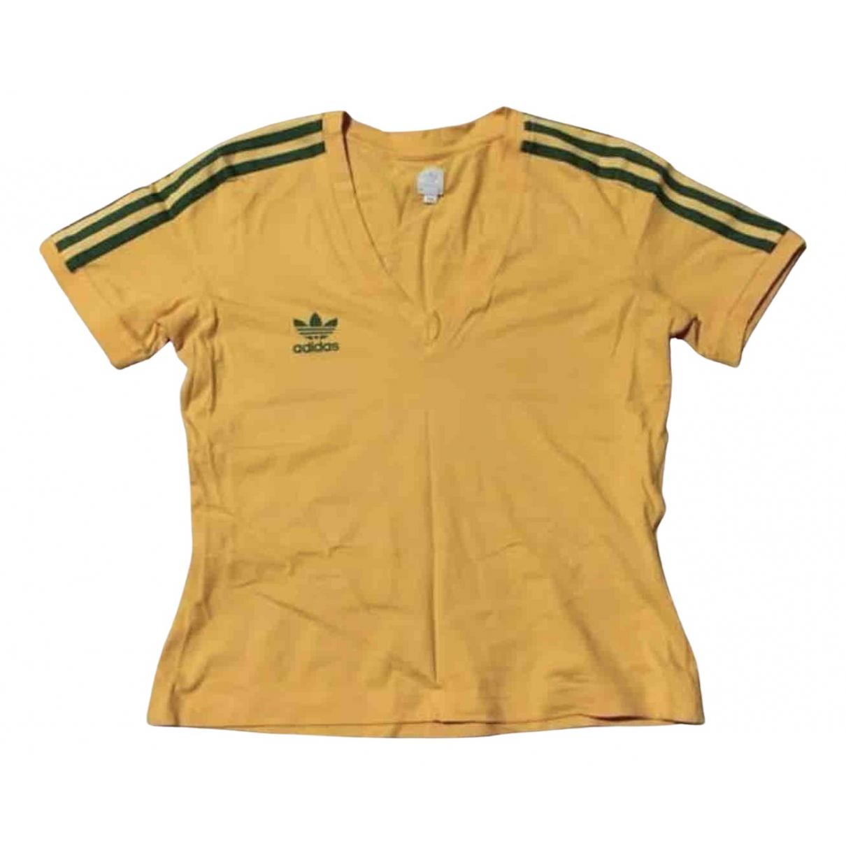 Adidas - Top   pour femme en coton - jaune