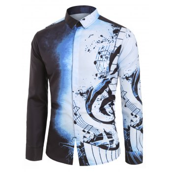 Musical Note Pattern Casual Long Sleeves Shirt