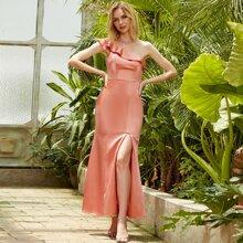 Angel-Fashions Satin Ballkleid mit einer Schulter und Schlitz