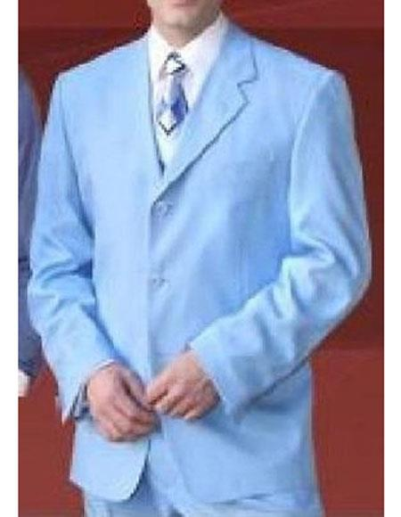 Milano Moda Men's Sky Blue 3 Button Notch Lapel Single Polyester Suit