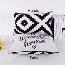 1pc Geometric Pattern Double Side Pillowcase