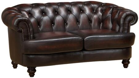 Mario Collection 65 Leather Loveseat with Kiln Dried Solid Wood Frame  Nail Head Accents  Pocket Coil Seat Springs  Button Tufting Back and Top
