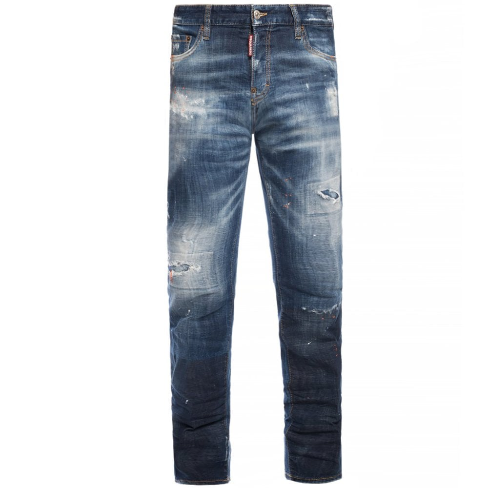 DSquared2 Distressed Stonewash Jeans Colour: BLUE, Size: 34 32