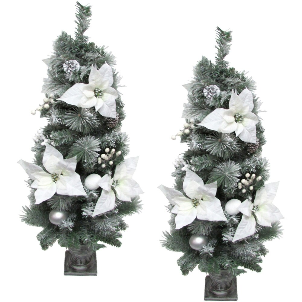 Fraser Hill Farm 4-Ft. Christmas Frost Covered Porch Tree, Set of 2 - White - 4 Foot (White - 4 Foot)