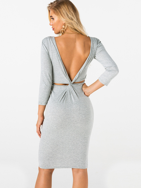 Yoins Grey Backless Design Plain Round Neck Long Sleeves Midi Dress
