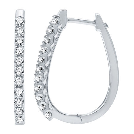 1/2 CT. T.W. Genuine Diamond 10K White Gold 22mm Hoop Earrings, One Size , No Color Family