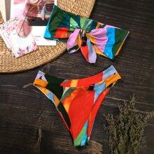 Allover Graphic High Waisted Bikini Swimsuit