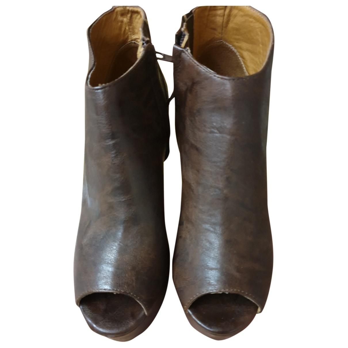 Jeffrey Campbell - Boots   pour femme en cuir - marron