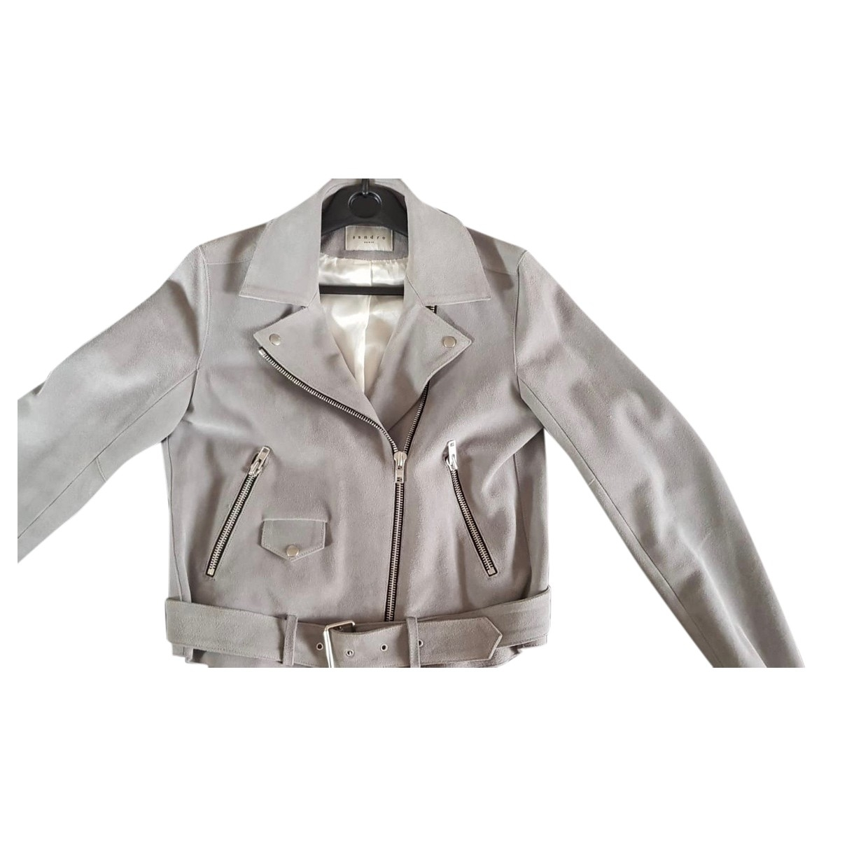 Sandro \N Grey Leather Leather jacket for Women 42 FR