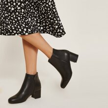 Faux Leather Zip-Up Block Ankle Booties