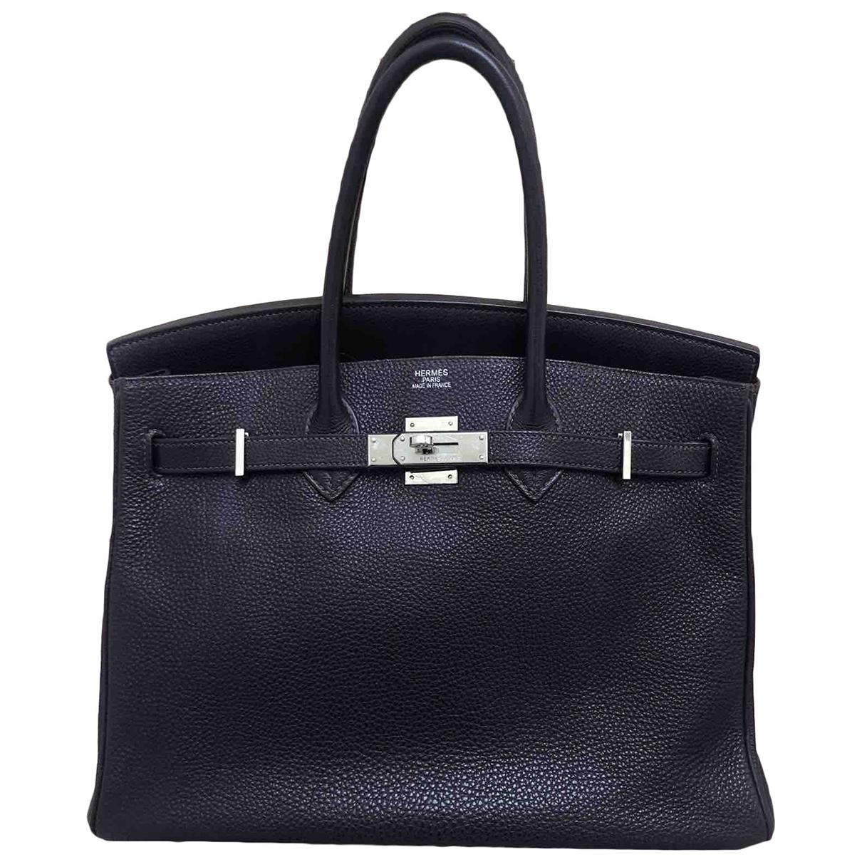 Hermes - Sac a main Birkin 35 pour femme en cuir - violet
