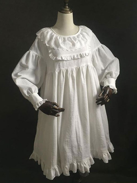 Milanoo Sweet Lolita OP Dress Ruffles White Balloon Sleeve Lolita One Piece Dresses