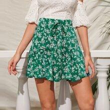Ditsy Floral Print Tie Front Godet Skirt