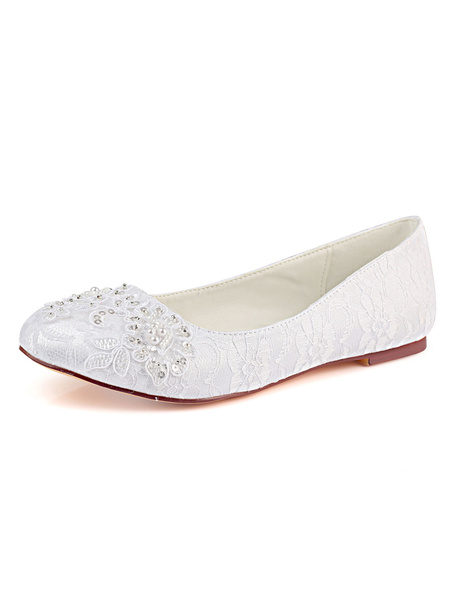 Milanoo Lace Wedding Shoes White Round Toe Rhinestones Pearls Flat Mother Shoes