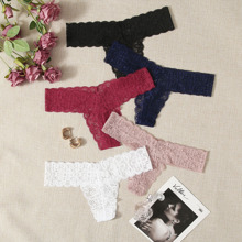 5pack Floral Lace Thong Set
