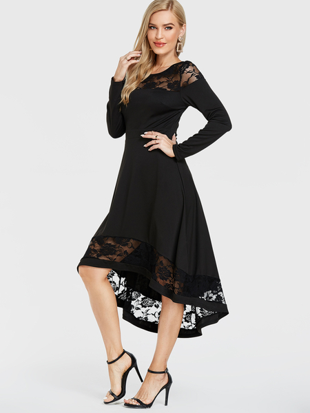 YOINS Black Patch Lace Round Neck Long Sleeves Dress