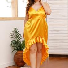 Satin Slip Kleid mit Raffung und abfallendem Saum