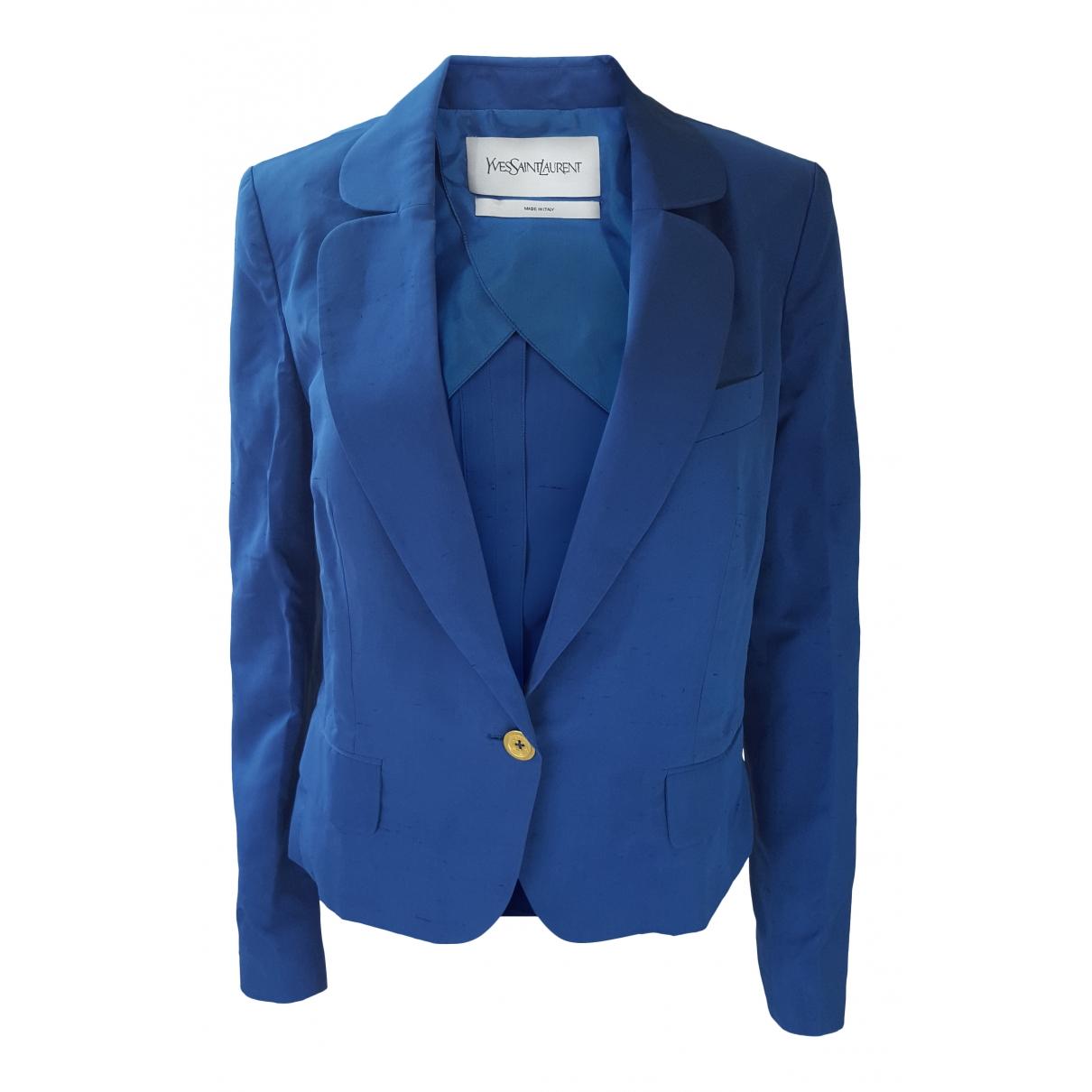 Yves Saint Laurent \N Blue Silk jacket for Women 42 FR