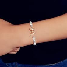 Butterfly Decor Faux Pearl Beaded Bracelet