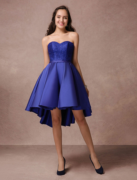 Milanoo Blue Prom Dress 2020 Short Satin Homecoming Dress Strapless Backless High Low Cocktail Dress