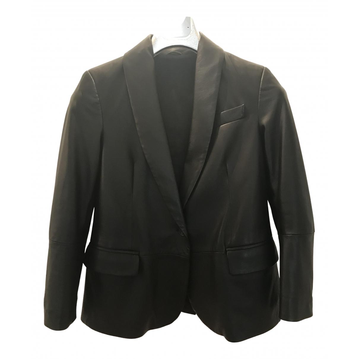 Brunello Cucinelli - Veste   pour femme en cuir - noir