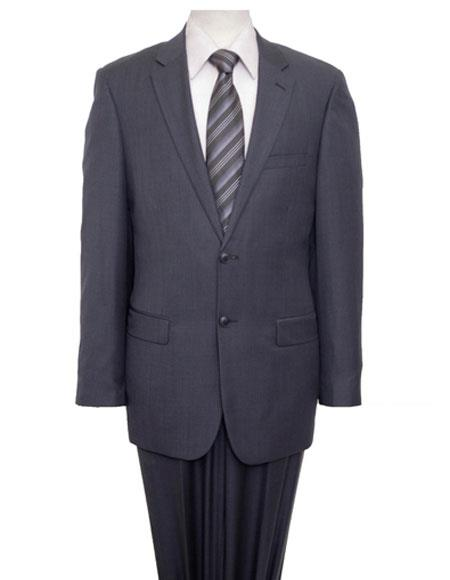 Mens Two Buttons Single Breasted Notch Lapel Gray Suit Flat Front Pant