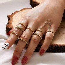 7pcs Faux Pearl Detail Ring