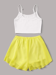 Cami Top With Knot Front Shorts PJ Set