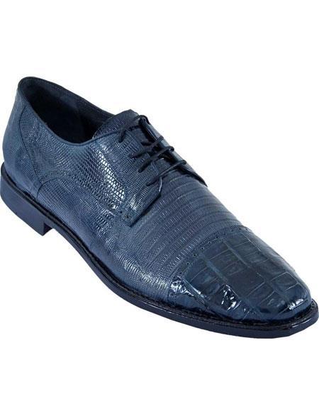 Mens Navy Blue Oxfords Style Los Altos Crocodile Belly