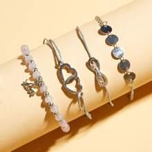 4 Stuecke Disc & Infinity Decor Perlen Armband