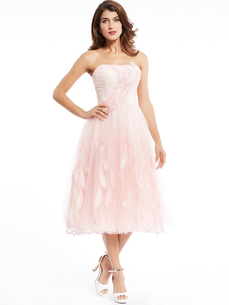 Ericdress A Line StrapLess Zipper-Up Appliques Tea-Length Prom Dress