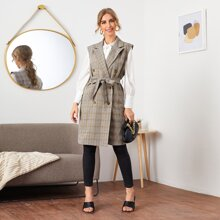 Notched Collar Double Breasted Belted Plaid Vest