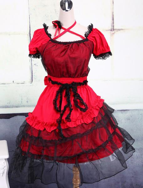 Milanoo Traje rojo de lolita de algodon con escote cuadrado de estilo clasico